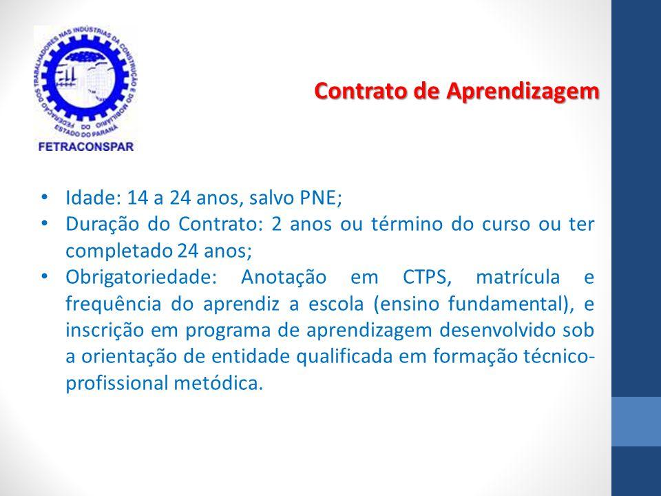 Contrato de Aprendizagem Idade: 14 a 24 anos, salvo PNE; Duração do Contrato: 2 anos ou término do curso ou ter completado 24 anos; Obrigatoriedade: A