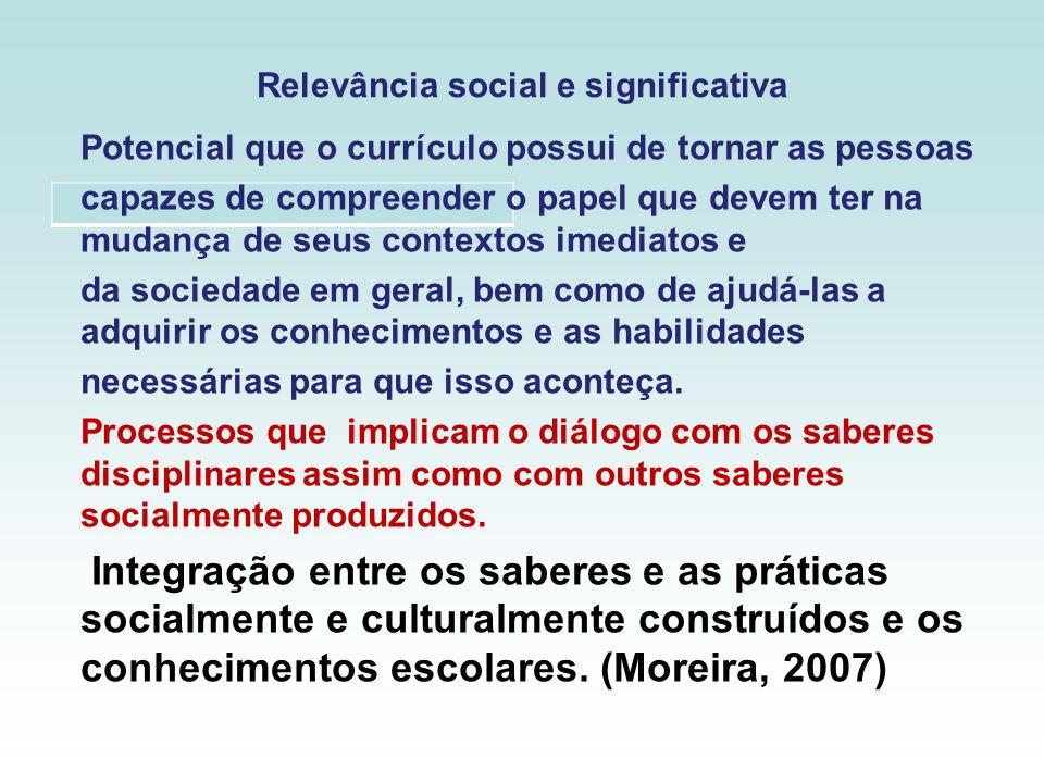 Relevância social e significativa Potencial que o currículo possui de tornar as pessoas capazes de compreender o papel que devem ter na mudança de seu