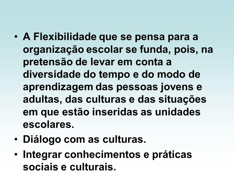 A Flexibilidade que se pensa para a organização escolar se funda, pois, na pretensão de levar em conta a diversidade do tempo e do modo de aprendizagem das pessoas jovens e adultas, das culturas e das situações em que estão inseridas as unidades escolares.