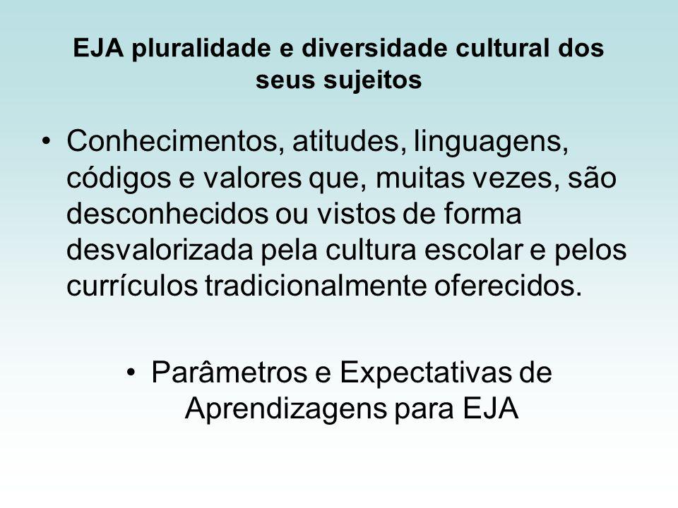 EJA pluralidade e diversidade cultural dos seus sujeitos Conhecimentos, atitudes, linguagens, códigos e valores que, muitas vezes, são desconhecidos ou vistos de forma desvalorizada pela cultura escolar e pelos currículos tradicionalmente oferecidos.