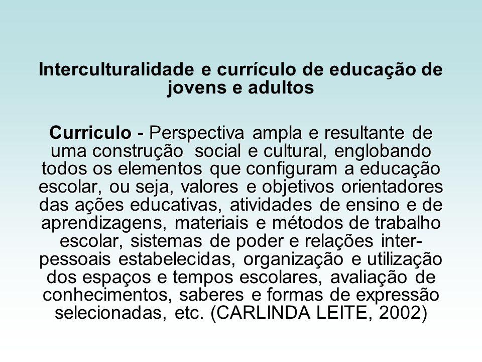 Interculturalidade e currículo de educação de jovens e adultos Curriculo - Perspectiva ampla e resultante de uma construção social e cultural, engloba