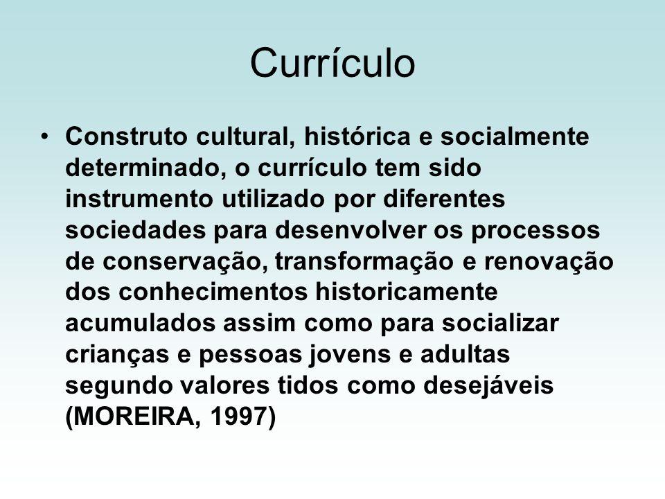 Currículo Construto cultural, histórica e socialmente determinado, o currículo tem sido instrumento utilizado por diferentes sociedades para desenvolv