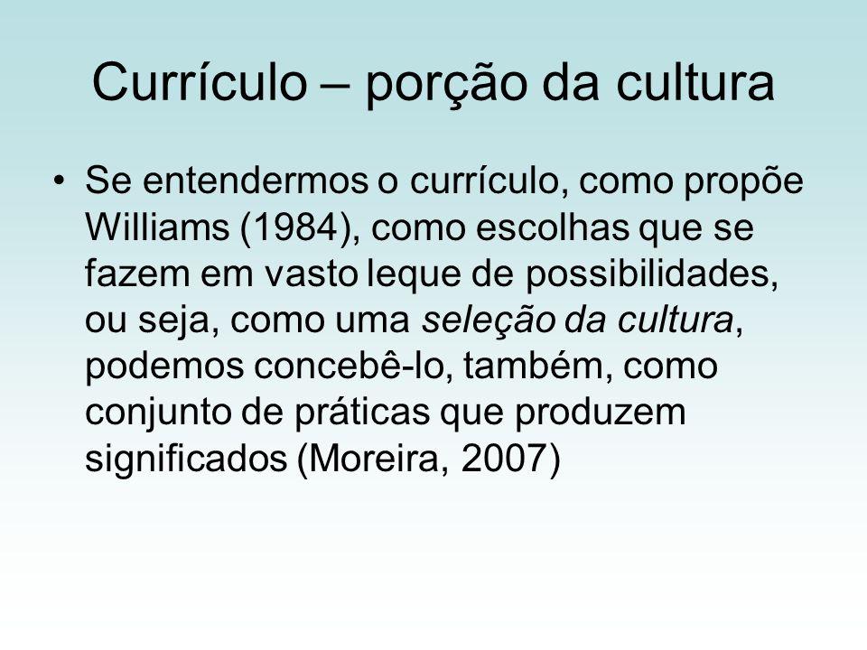 Currículo – porção da cultura Se entendermos o currículo, como propõe Williams (1984), como escolhas que se fazem em vasto leque de possibilidades, ou seja, como uma seleção da cultura, podemos concebê-lo, também, como conjunto de práticas que produzem significados (Moreira, 2007)