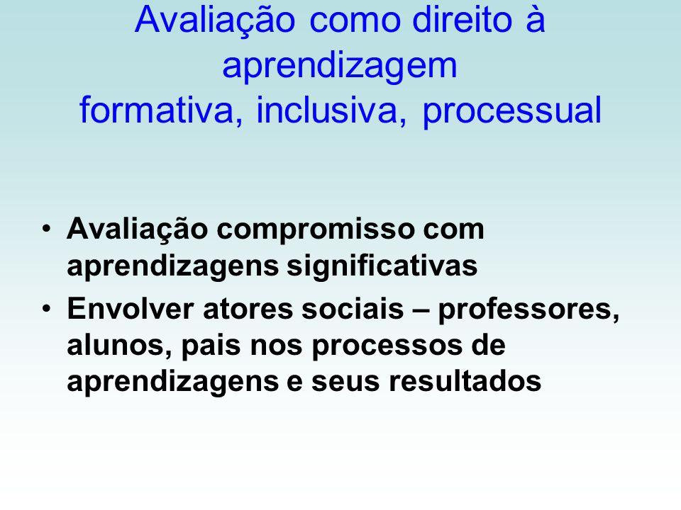 Avaliação como direito à aprendizagem formativa, inclusiva, processual Avaliação compromisso com aprendizagens significativas Envolver atores sociais – professores, alunos, pais nos processos de aprendizagens e seus resultados