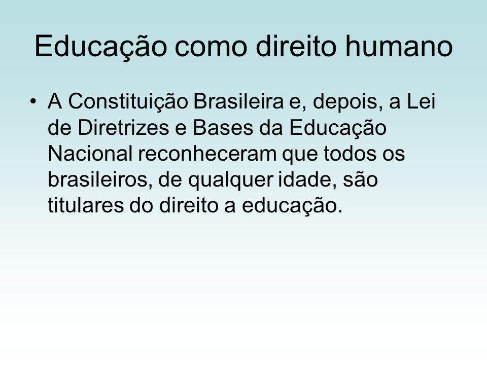 Educação como direito humano A Constituição Brasileira e, depois, a Lei de Diretrizes e Bases da Educação Nacional reconheceram que todos os brasileiros, de qualquer idade, são titulares do direito a educação.