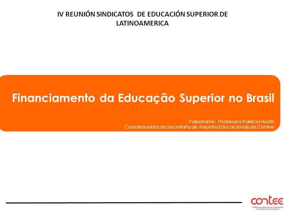 Financiamento da Educação Superior no Brasil Palestrante: Professora Adércia Hostin Coordenadora da Secretaria de Assuntos Educacionais da Contee Fina