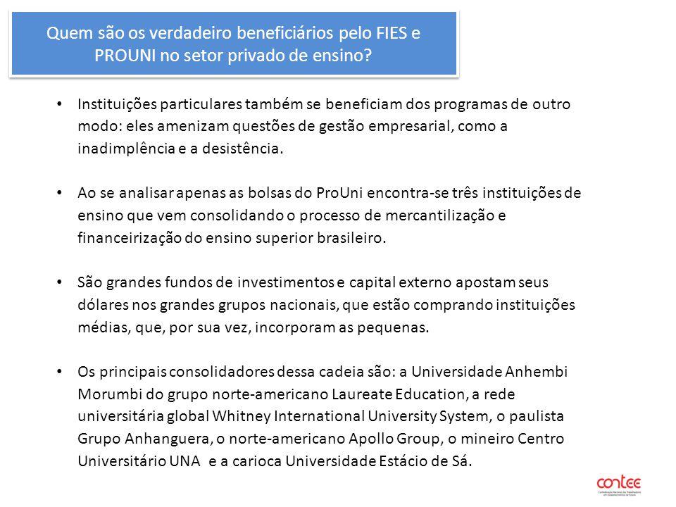 Quem são os verdadeiro beneficiários pelo FIES e PROUNI no setor privado de ensino? Instituições particulares também se beneficiam dos programas de ou