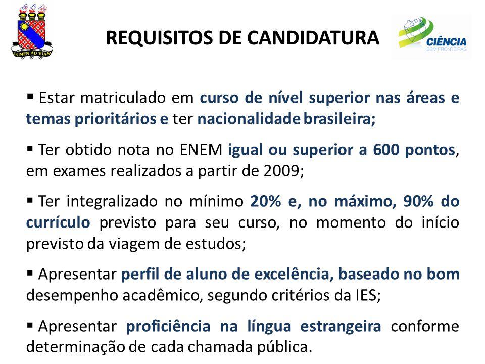 REQUISITOS DE CANDIDATURA  Estar matriculado em curso de nível superior nas áreas e temas prioritários e ter nacionalidade brasileira;  Ter obtido n