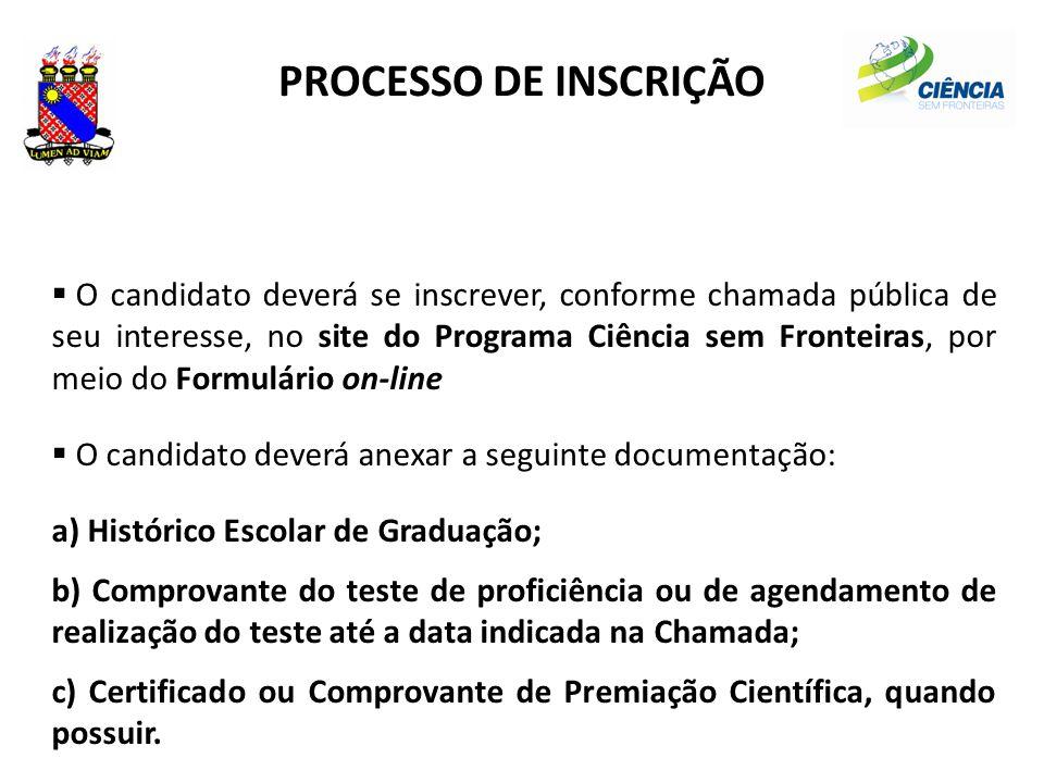 PROCESSO DE INSCRIÇÃO  O candidato deverá se inscrever, conforme chamada pública de seu interesse, no site do Programa Ciência sem Fronteiras, por me