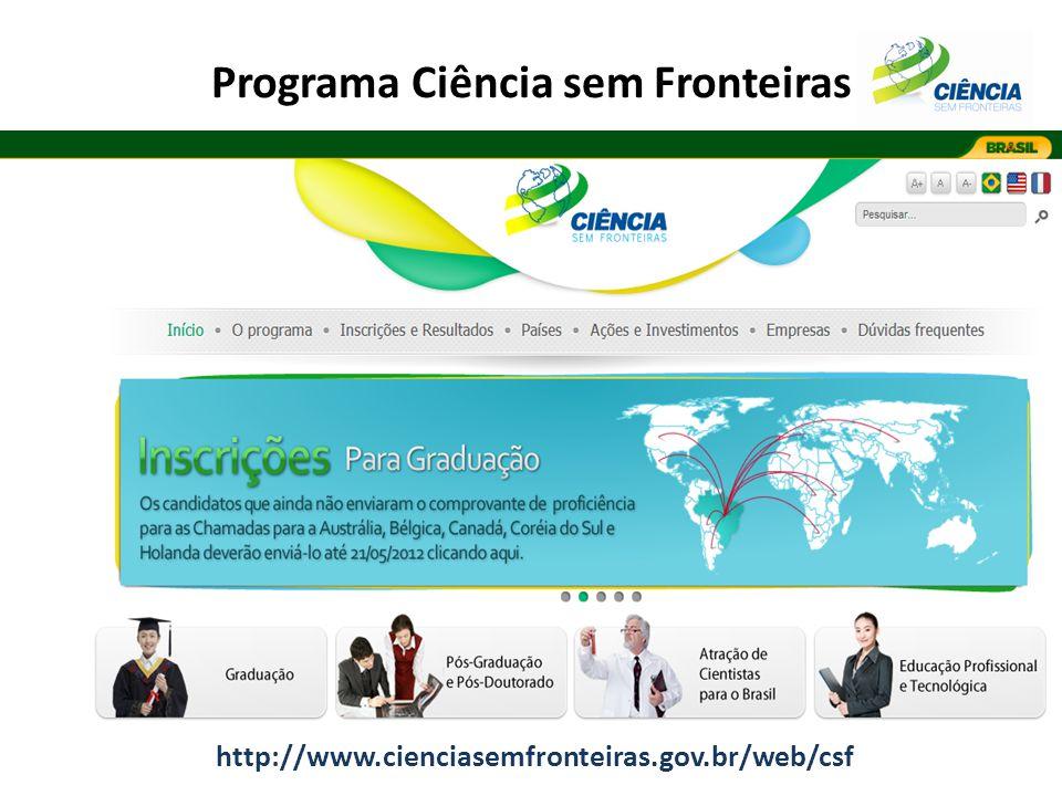 Programa Ciência sem Fronteiras http://www.cienciasemfronteiras.gov.br/web/csf