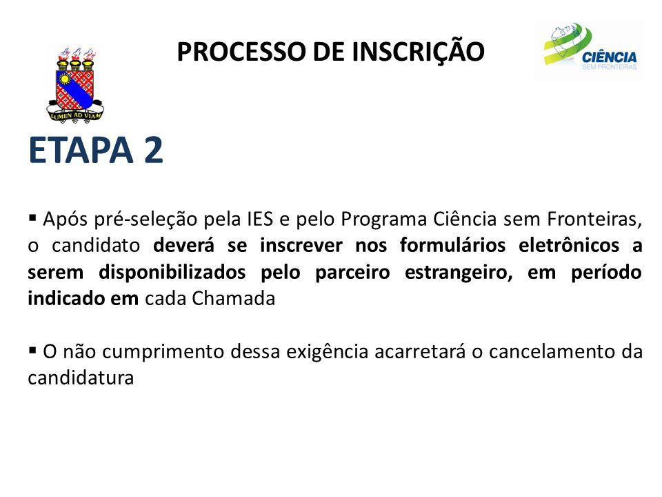 PROCESSO DE INSCRIÇÃO ETAPA 2  Após pré-seleção pela IES e pelo Programa Ciência sem Fronteiras, o candidato deverá se inscrever nos formulários elet