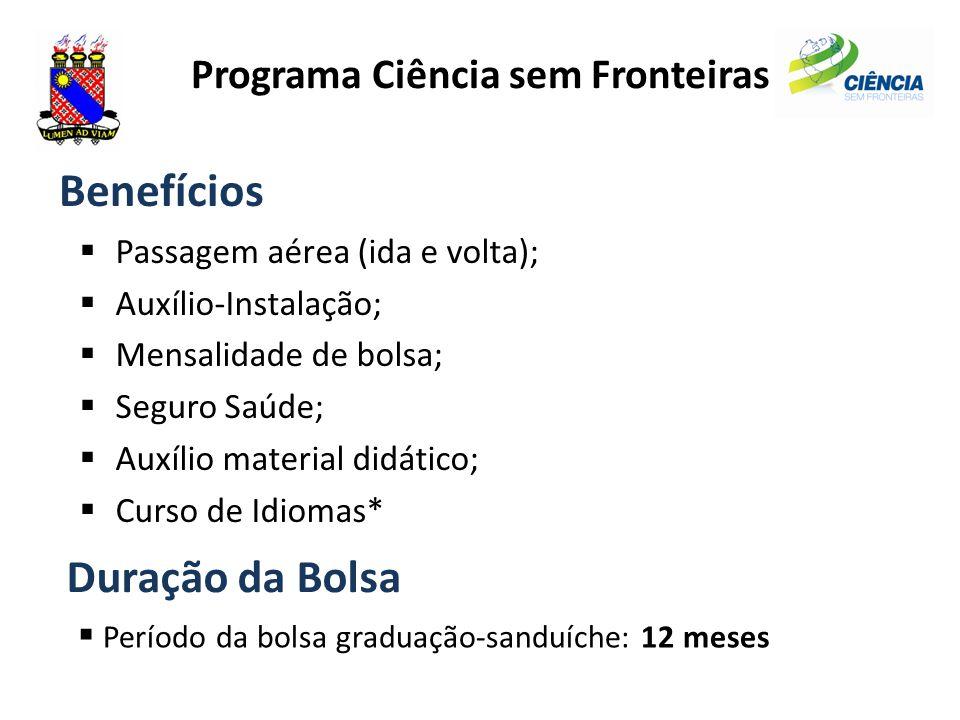 Programa Ciência sem Fronteiras Benefícios  Passagem aérea (ida e volta);  Auxílio-Instalação;  Mensalidade de bolsa;  Seguro Saúde;  Auxílio mat