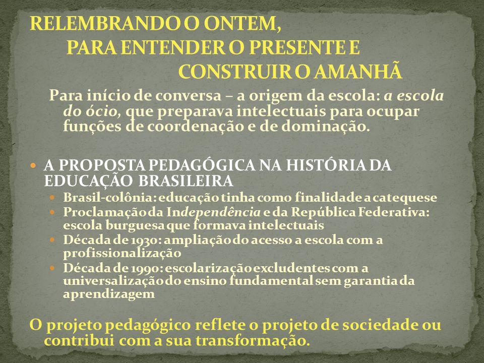Para início de conversa – a origem da escola: a escola do ócio, que preparava intelectuais para ocupar funções de coordenação e de dominação. A PROPOS
