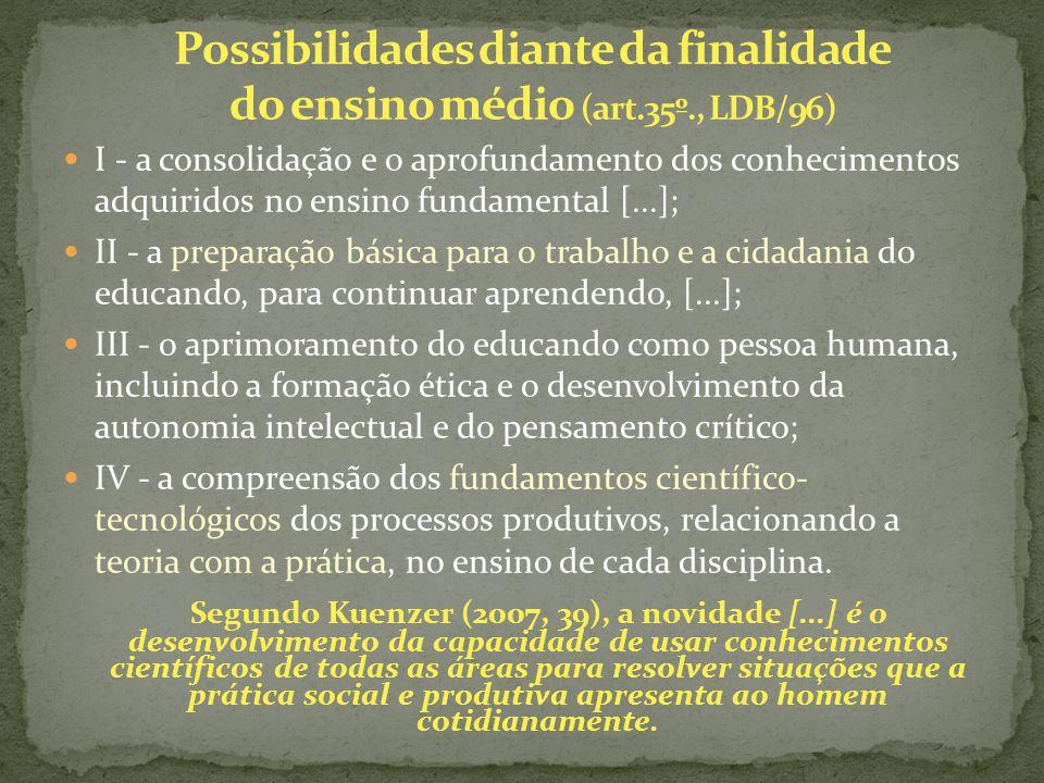 I - a consolidação e o aprofundamento dos conhecimentos adquiridos no ensino fundamental [...]; II - a preparação básica para o trabalho e a cidadania
