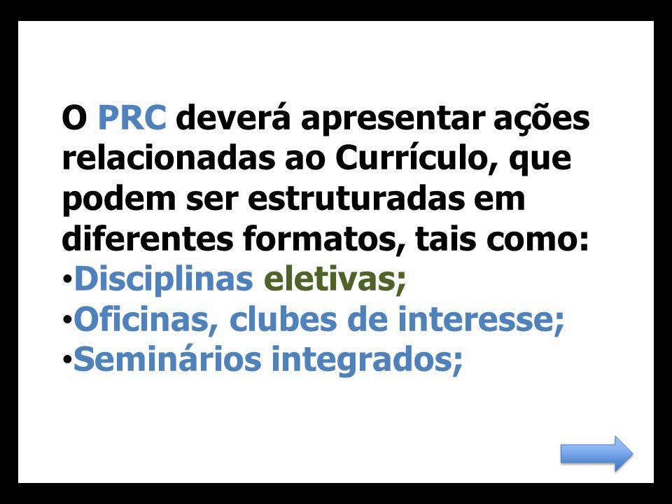 O PRC deverá apresentar ações relacionadas ao Currículo, que podem ser estruturadas em diferentes formatos, tais como: Disciplinas eletivas; Oficinas, clubes de interesse; Seminários integrados;
