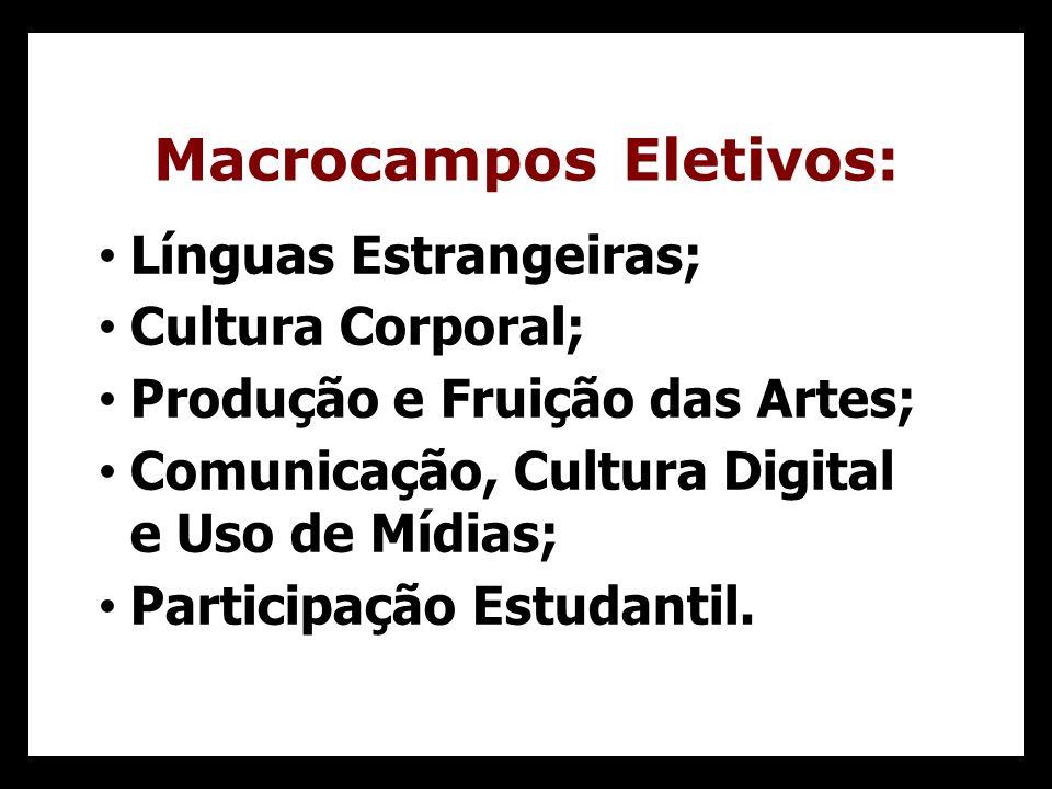 Línguas Estrangeiras; Cultura Corporal; Produção e Fruição das Artes; Comunicação, Cultura Digital e Uso de Mídias; Participação Estudantil.