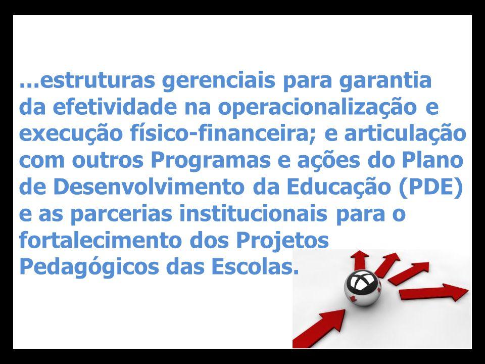 ...estruturas gerenciais para garantia da efetividade na operacionalização e execução físico-financeira; e articulação com outros Programas e ações do Plano de Desenvolvimento da Educação (PDE) e as parcerias institucionais para o fortalecimento dos Projetos Pedagógicos das Escolas.