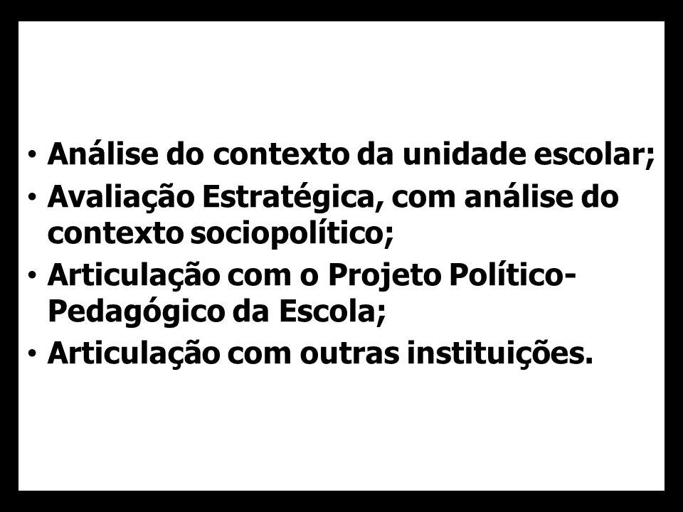 Análise do contexto da unidade escolar; Avaliação Estratégica, com análise do contexto sociopolítico; Articulação com o Projeto Político- Pedagógico da Escola; Articulação com outras instituições.