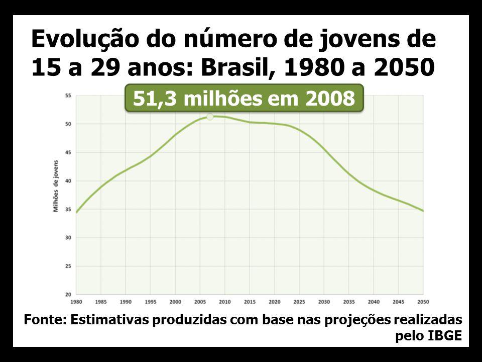 Evolução do número de jovens de 15 a 29 anos: Brasil, 1980 a 2050 Fonte: Estimativas produzidas com base nas projeções realizadas pelo IBGE 51,3 milhões em 2008