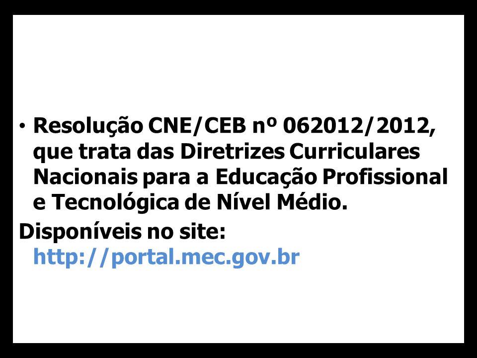 39 Resolução CNE/CEB nº 062012/2012, que trata das Diretrizes Curriculares Nacionais para a Educação Profissional e Tecnológica de Nível Médio.