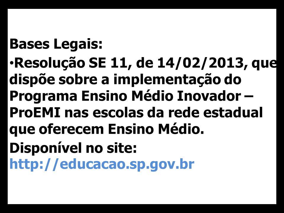 40 Bases Legais: Resolução SE 11, de 14/02/2013, que dispõe sobre a implementação do Programa Ensino Médio Inovador – ProEMI nas escolas da rede estadual que oferecem Ensino Médio.