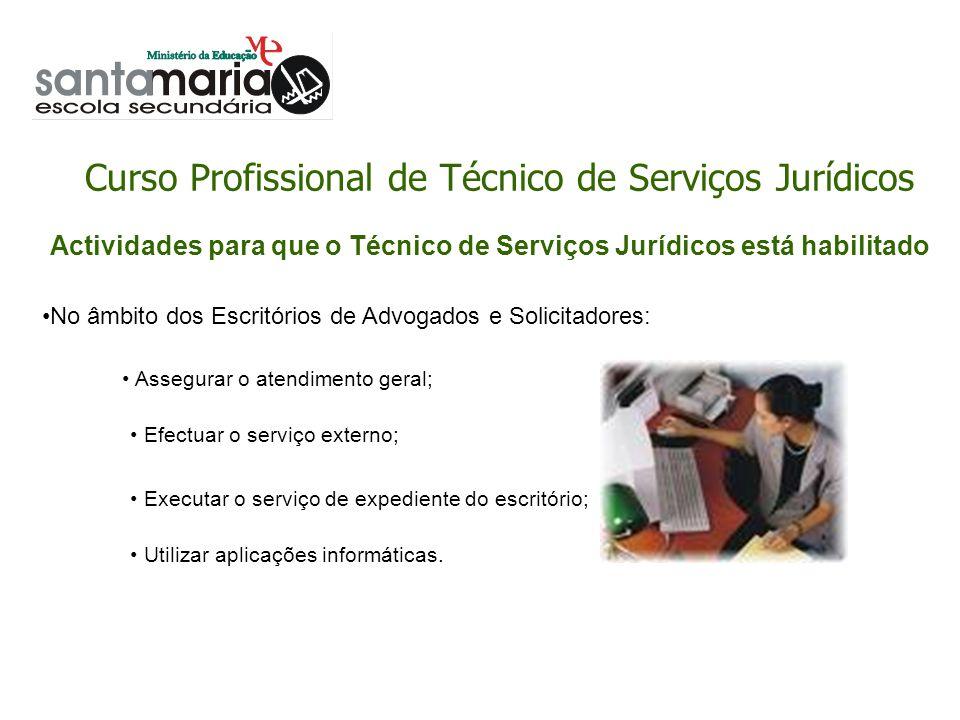 Curso Profissional de Técnico de Serviços Jurídicos No âmbito dos Escritórios de Advogados e Solicitadores: Assegurar o atendimento geral; Efectuar o