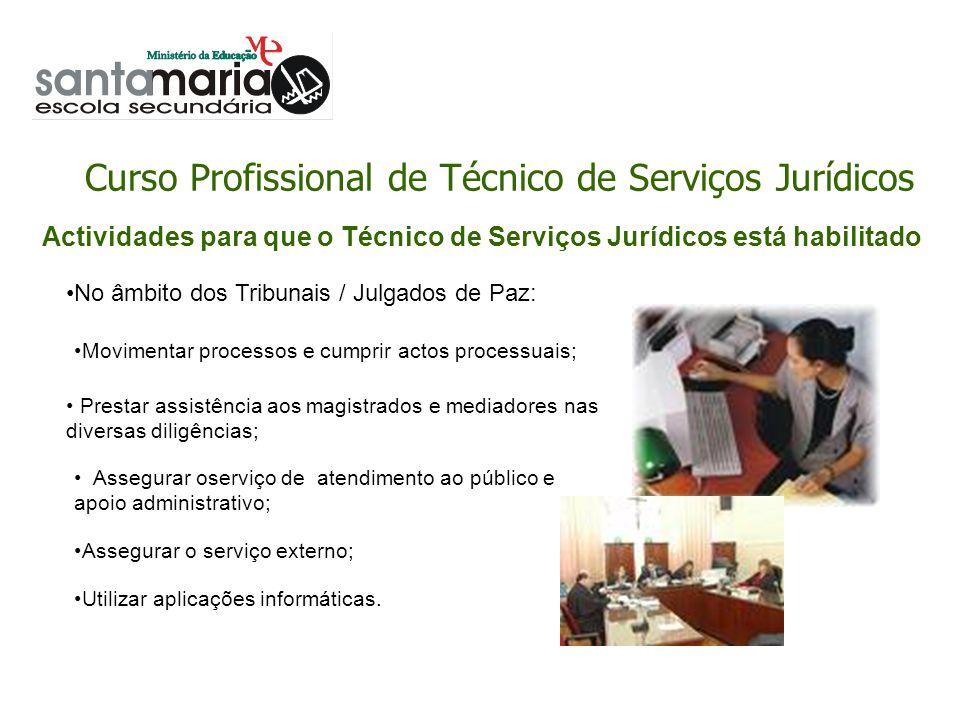 Curso Profissional de Técnico de Serviços Jurídicos Assegurar o serviço externo; Utilizar aplicações informáticas. Prestar assistência aos magistrados