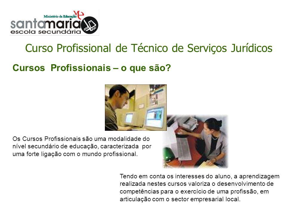 Curso Profissional de Técnico de Serviços Jurídicos Assegurar o serviço externo; Utilizar aplicações informáticas.
