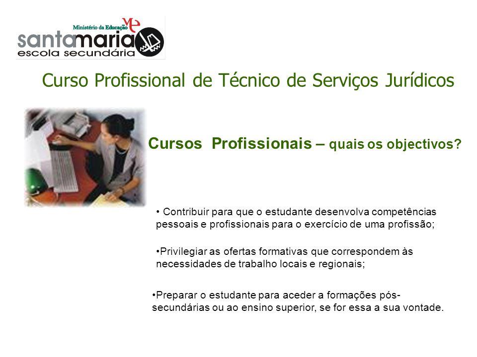 Curso Profissional de Técnico de Serviços Jurídicos Cursos Profissionais – qual a estrutura curricular.
