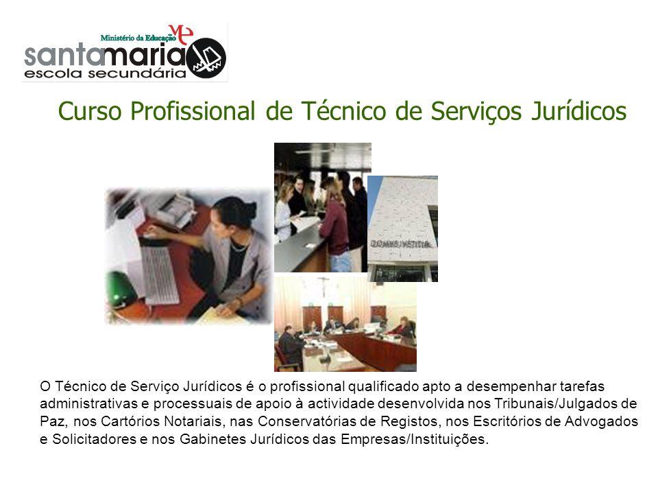 Curso Profissional de Técnico de Serviços Jurídicos O Técnico de Serviço Jurídicos é o profissional qualificado apto a desempenhar tarefas administrat