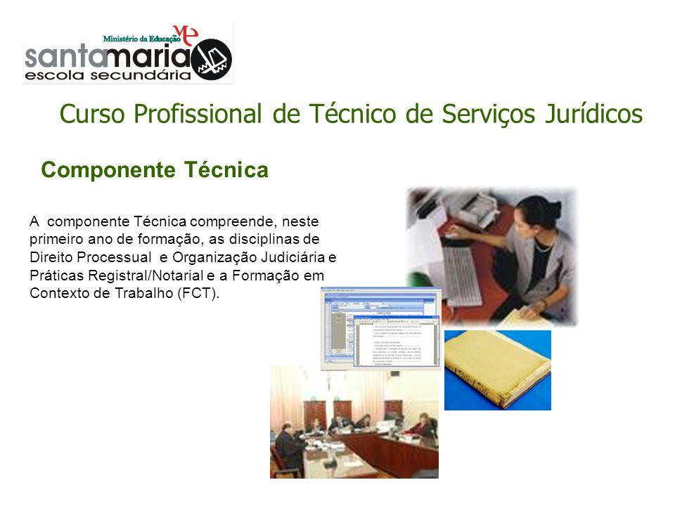 Curso Profissional de Técnico de Serviços Jurídicos Componente Técnica A componente Técnica compreende, neste primeiro ano de formação, as disciplinas