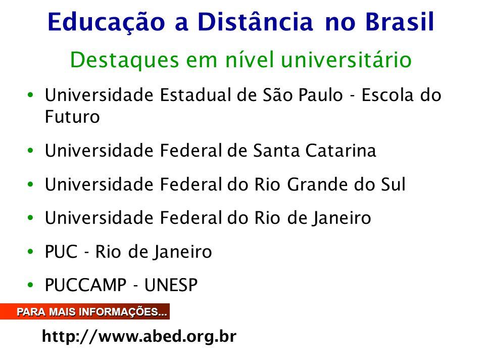 Educação a Distância no Brasil  Universidade Estadual de São Paulo - Escola do Futuro  Universidade Federal de Santa Catarina  Universidade Federal