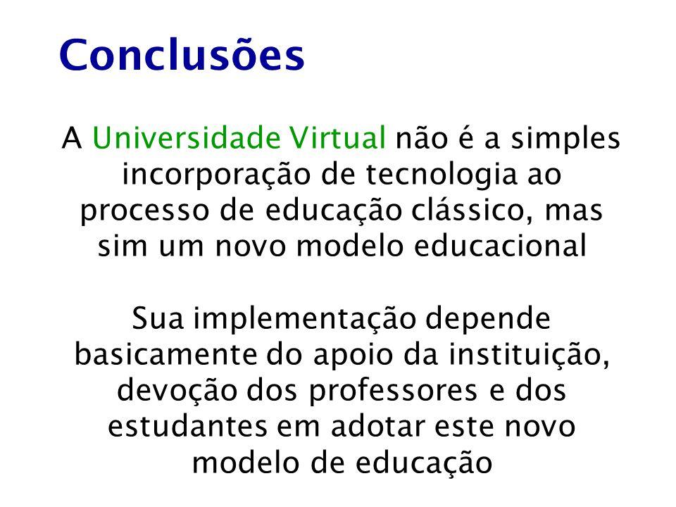 A Universidade Virtual não é a simples incorporação de tecnologia ao processo de educação clássico, mas sim um novo modelo educacional Sua implementaç