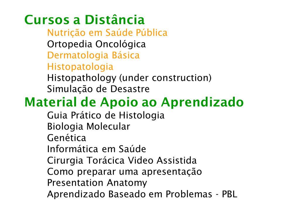 Cursos a Distância Nutrição em Saúde Pública Ortopedia Oncológica Dermatologia Básica Histopatologia Histopathology (under construction) Simulação de