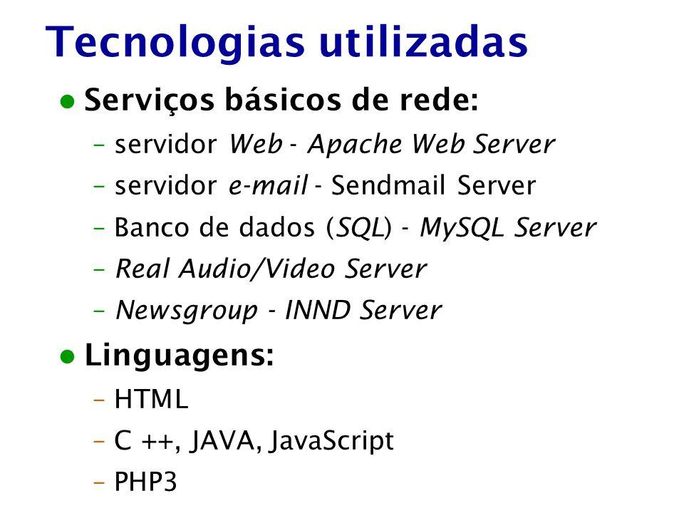 Tecnologias utilizadas Serviços básicos de rede: –servidor Web - Apache Web Server –servidor e-mail - Sendmail Server –Banco de dados (SQL) - MySQL Se