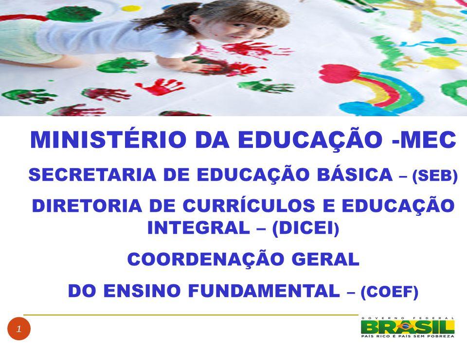 1 MINISTÉRIO DA EDUCAÇÃO -MEC SECRETARIA DE EDUCAÇÃO BÁSICA – (SEB) DIRETORIA DE CURRÍCULOS E EDUCAÇÃO INTEGRAL – (DICEI ) COORDENAÇÃO GERAL DO ENSINO