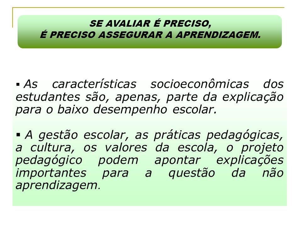  As características socioeconômicas dos estudantes são, apenas, parte da explicação para o baixo desempenho escolar.  A gestão escolar, as práticas