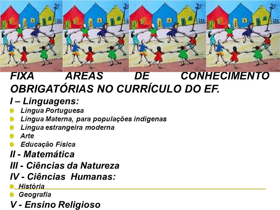 FIXA ÀREAS DE CONHECIMENTO OBRIGATÓRIAS NO CURRÍCULO DO EF. I – Linguagens: Língua Portuguesa Língua Materna, para populações indígenas Língua estrang