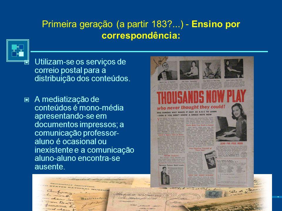 Gerações de Educação a Distância (Garrison 1985; 2001; Lina Morgado, 2003; Maria João Gomes, 2003). Não existe uma progessão linear de gerações de EaD