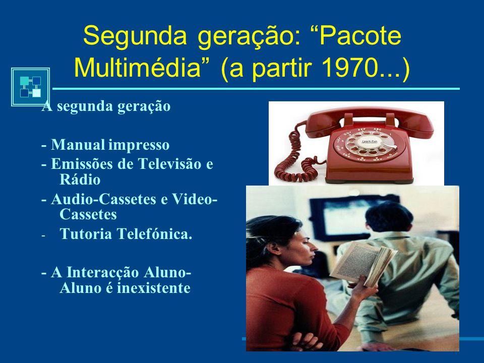 Primeira geração (a partir 183?...) - Ensino por correspondência: Utilizam-se os serviços de correio postal para a distribuição dos conteúdos. A media