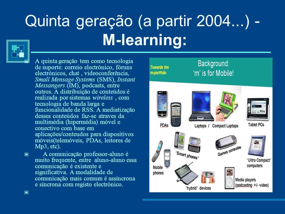 Quarta geração (a partir 199?...) - E-learning :  A quarta geração é marcada pelas varias tecnologia de suporte como: correio electrónico, fóruns ele