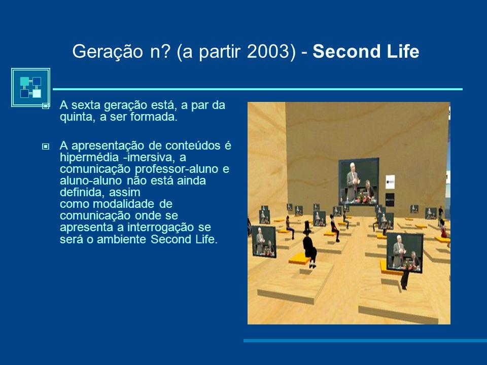 Quinta geração (a partir 2004...) - M-learning: A quinta geração tem como tecnologia de suporte: correio electrónico, fóruns electrónicos, chat, video