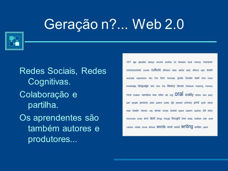 Geração n? (a partir 2003) - Second Life A sexta geração está, a par da quinta, a ser formada. A apresentação de conteúdos é hipermédia -imersiva, a c