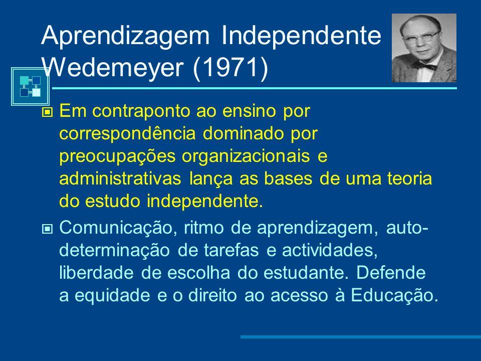 Aprendizagem Independente Delling (1966) - O Ensino a Distância constitui um sistema de aprendizagem e comunicação multidimensional facilitado por um