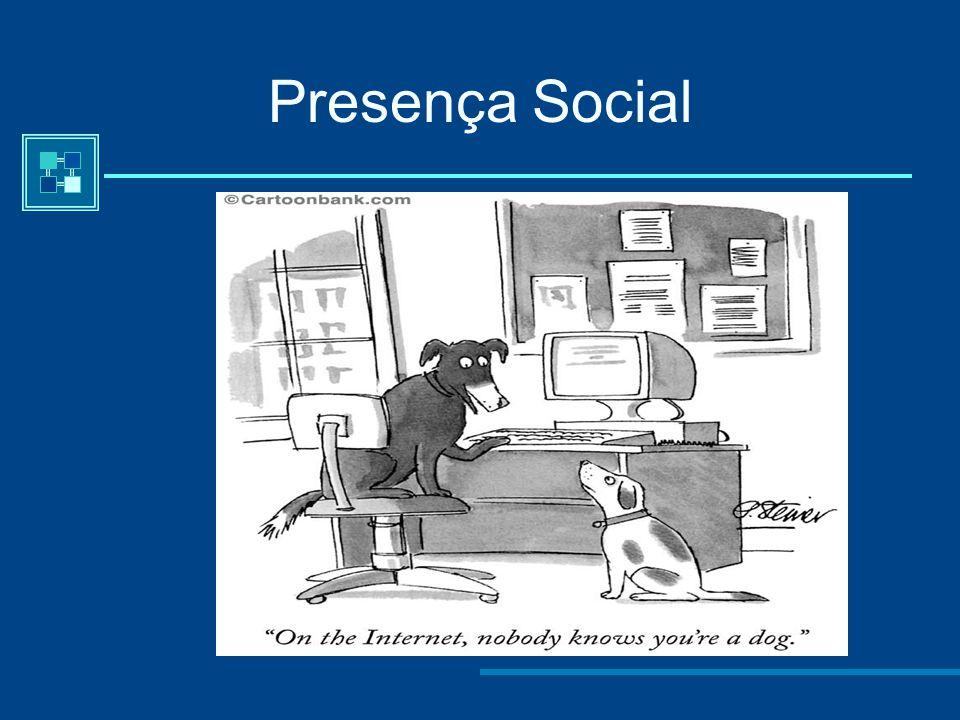 PRESENÇA SOCIAL ONLINE Até que ponto os participantes de um processo de comunicação mediada por computador se sentem ligados socialmente e emocionalme