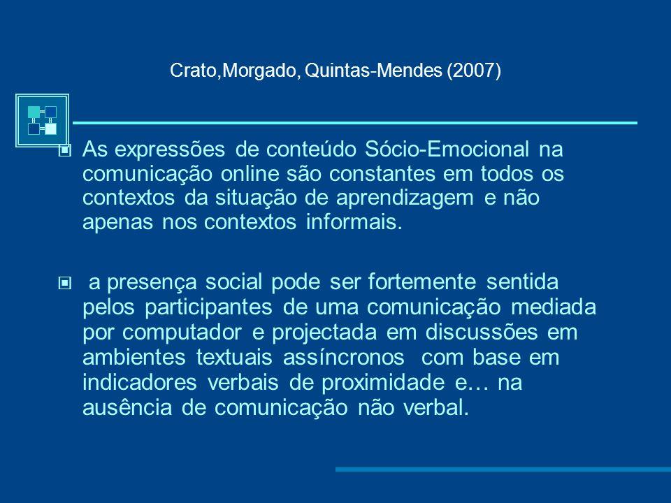 Crato,Morgado, Quintas-Mendes (2007) Os indicadores Afectivos predominam no contexto informal (Cibercafé) mas estão também presentes no contexto forma