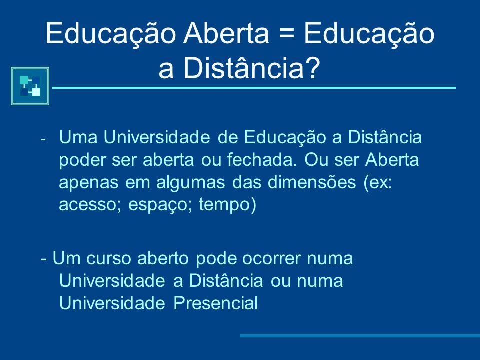 Educação Aberta = Educação a Distância? Educação Aberta refere-se a uma filosofia da Educação centrada no aprendente que remove todas as barreiras de