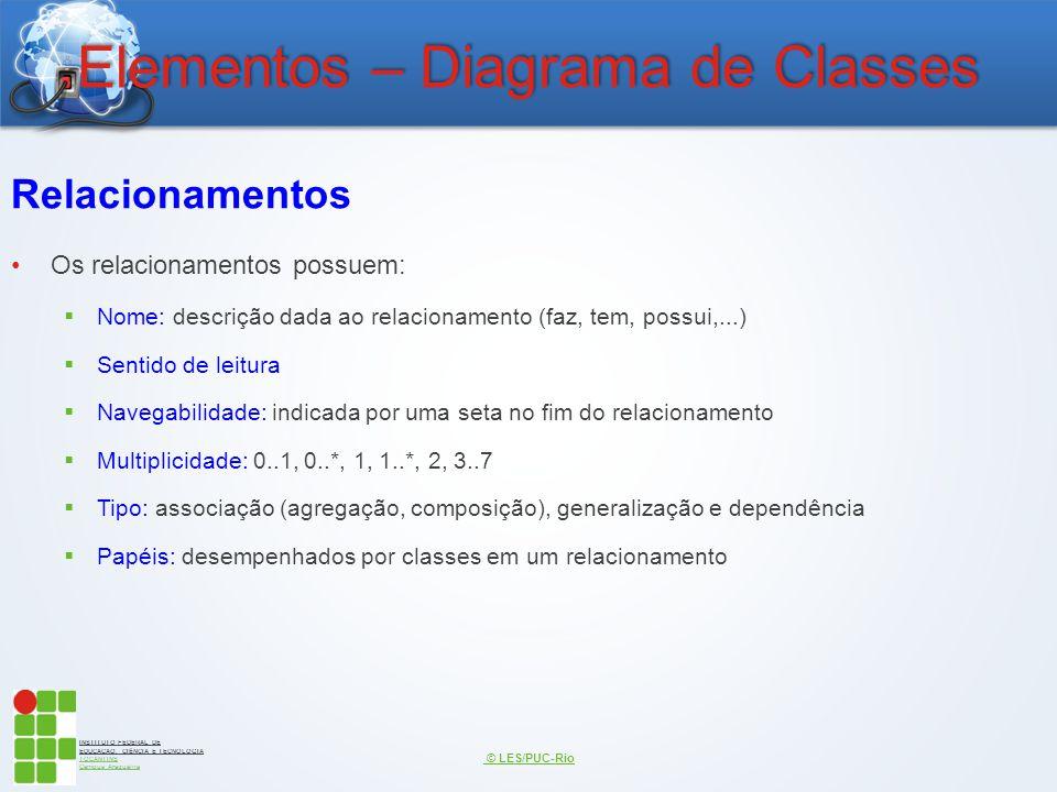 INSTITUTO FEDERAL DE EDUCAÇÃO, CIÊNCIA E TECNOLOGIA TOCANTINS Campus Araguaína Elementos – Diagrama de Classes Relacionamentos Os relacionamentos poss