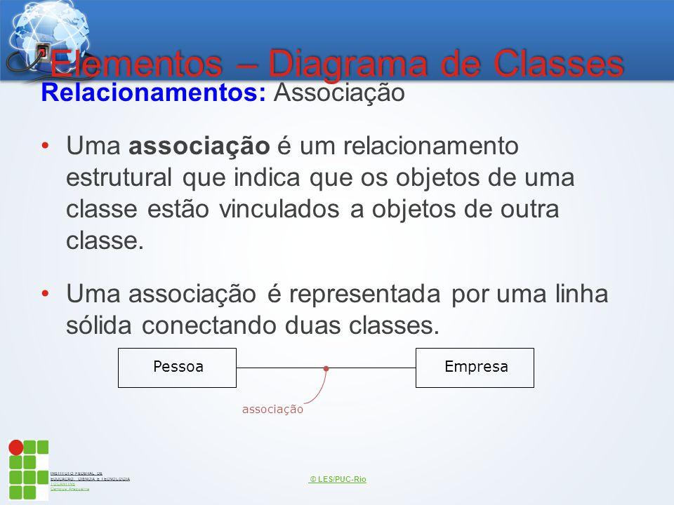INSTITUTO FEDERAL DE EDUCAÇÃO, CIÊNCIA E TECNOLOGIA TOCANTINS Campus Araguaína Elementos – Diagrama de Classes Relacionamentos: Associação Uma associa