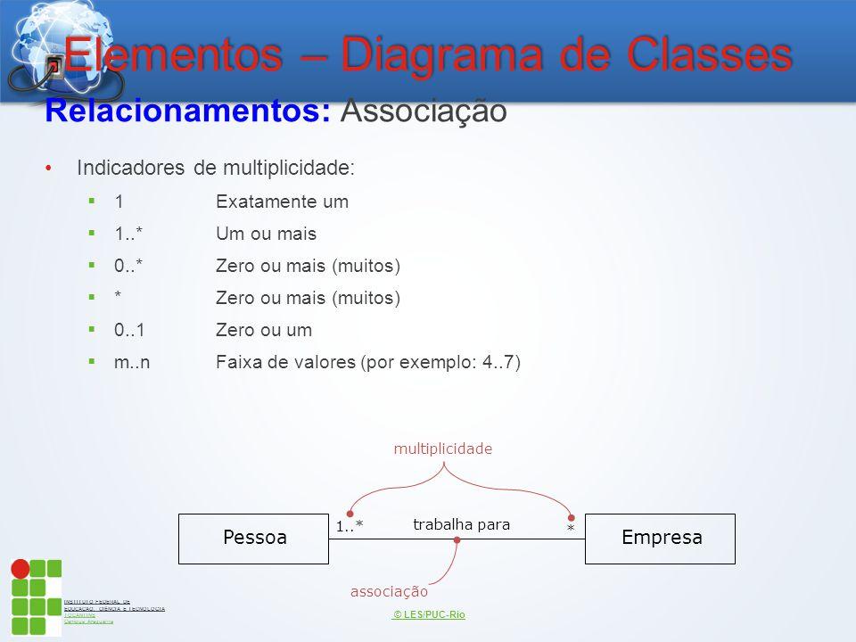 INSTITUTO FEDERAL DE EDUCAÇÃO, CIÊNCIA E TECNOLOGIA TOCANTINS Campus Araguaína Elementos – Diagrama de Classes Relacionamentos: Associação Indicadores